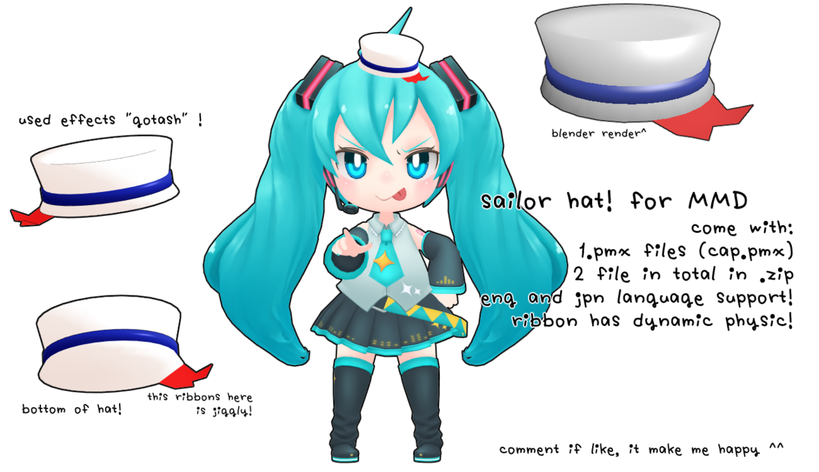 Noodles clipart kawaii. Mmd dl sailor hat