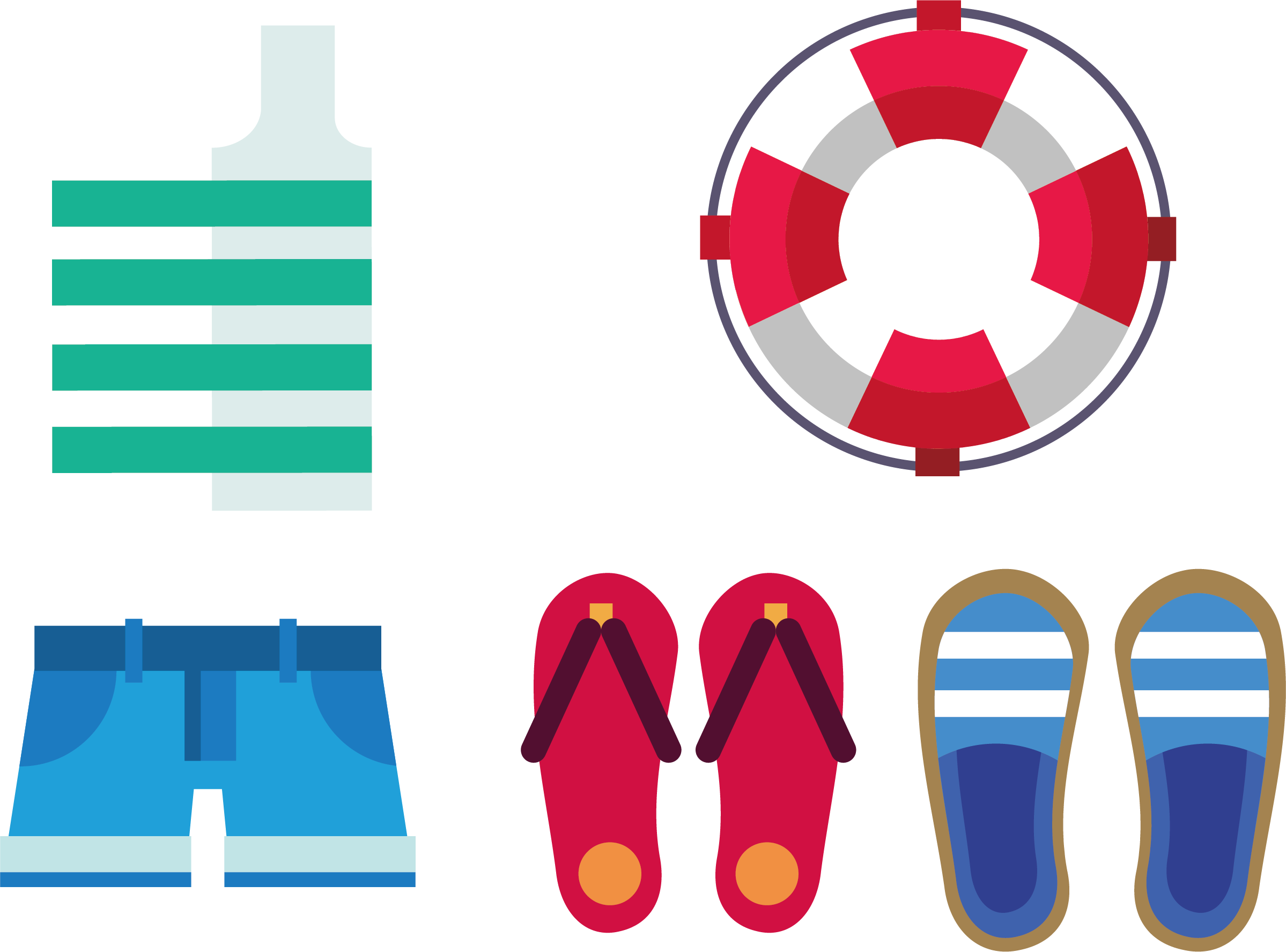 Swimsuit clipart swimming clothes. Summer slippers swim ring