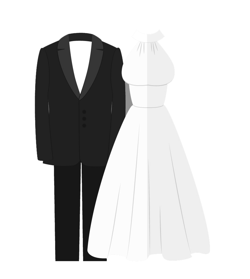 Heat clipart pink wedding. Dress and tux png