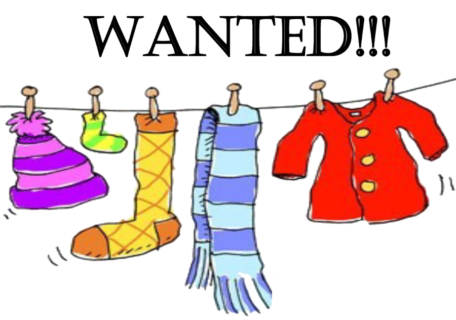 Winter clothing drive clip. Donation clipart cloth