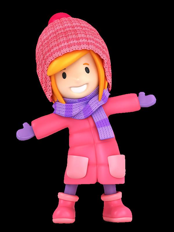 Nervous clipart hard. Winter little girl clip