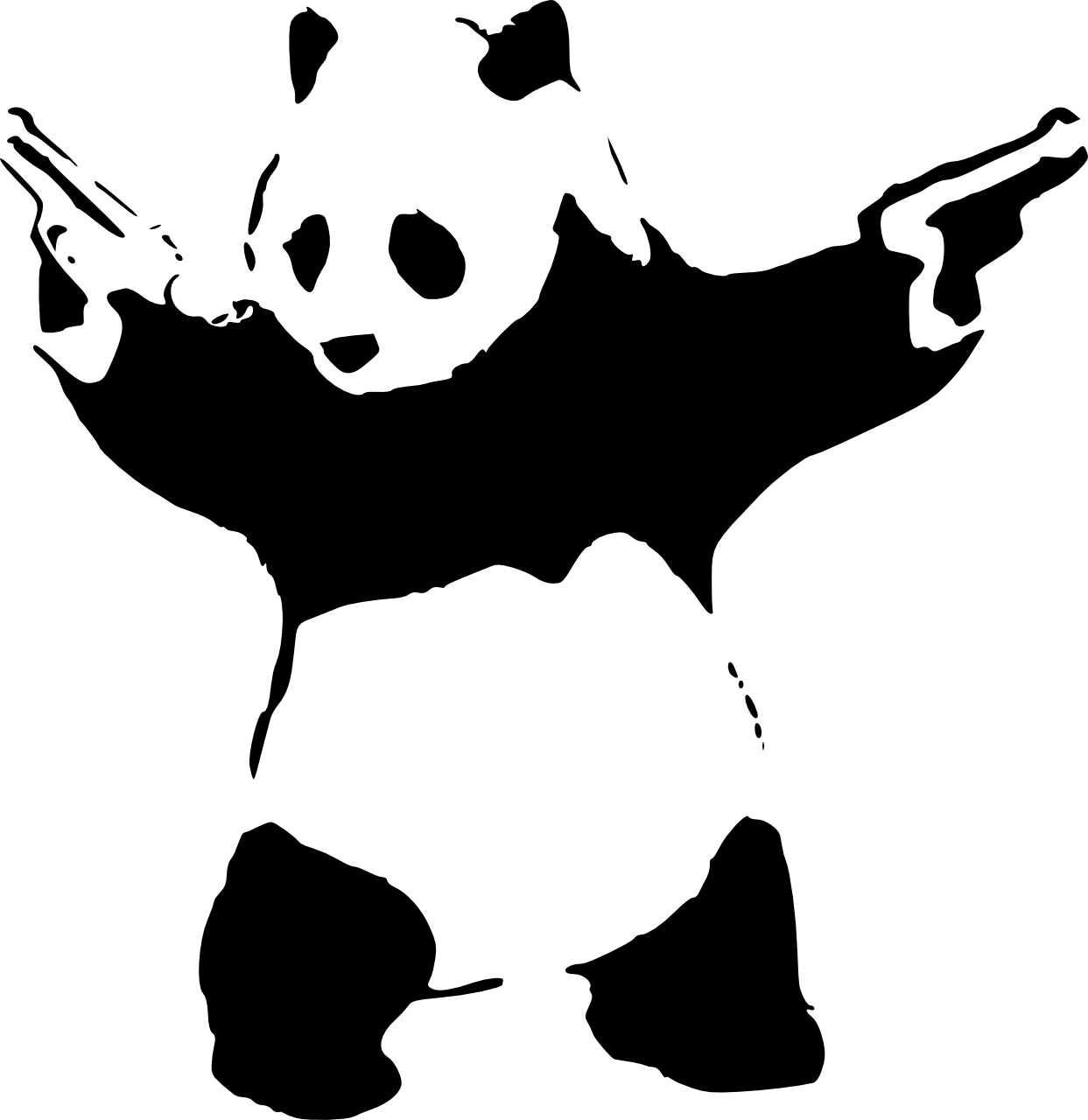 Gun wielding panda stencil. Words clipart graffiti