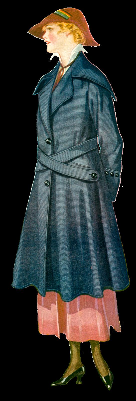 Antique images vintage coat. Clipart clothes women's clothing