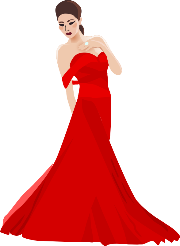 Chinese woman by dear. Fashion clipart party dress