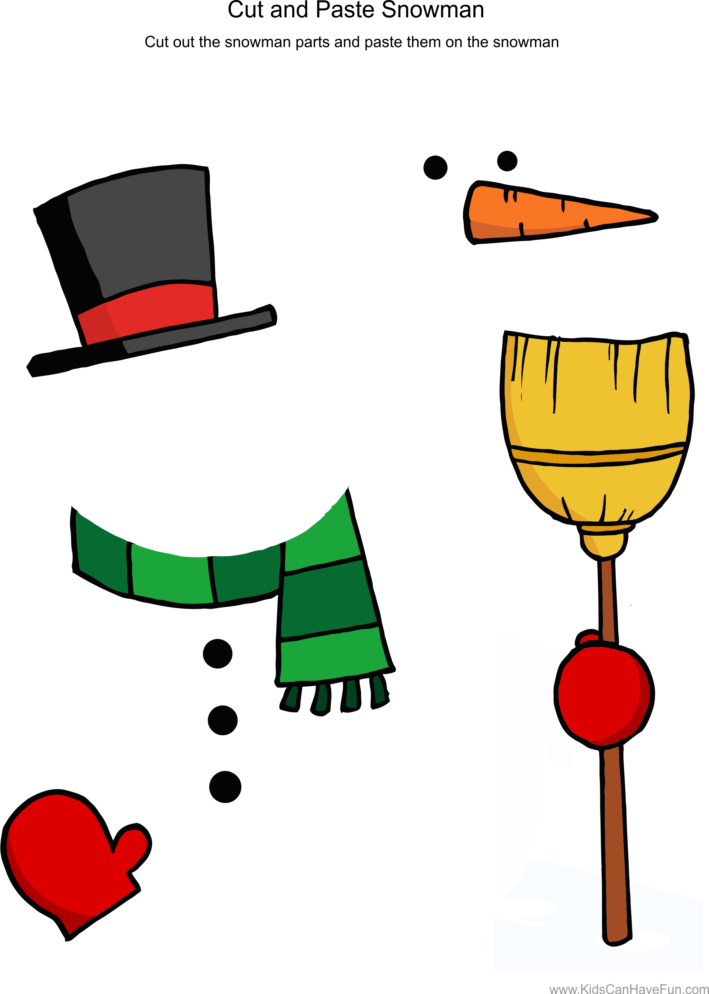 Cut and paste snowman. Planet clipart order worksheet