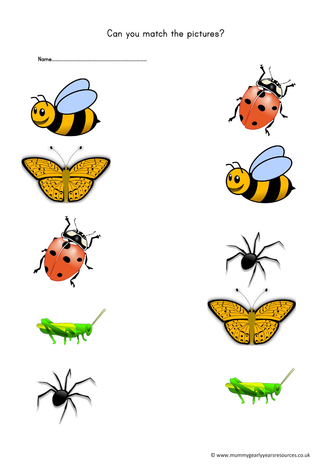 Mini beasts matching pictures. Handprint clipart childminder