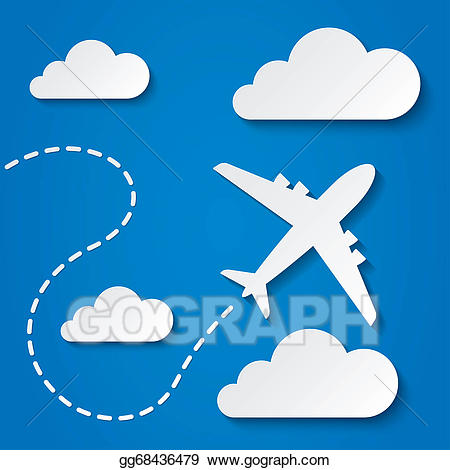 Plane clipart cloud. Stock illustration paper flying