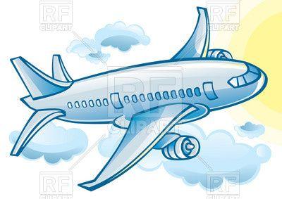 Plane clipart cloud. Airplane blue cartoon jetliner