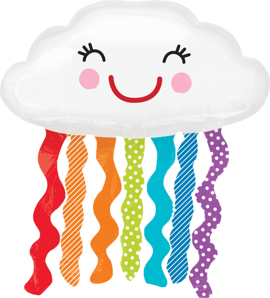 Clipart smile balloon. Happy cloud with rain