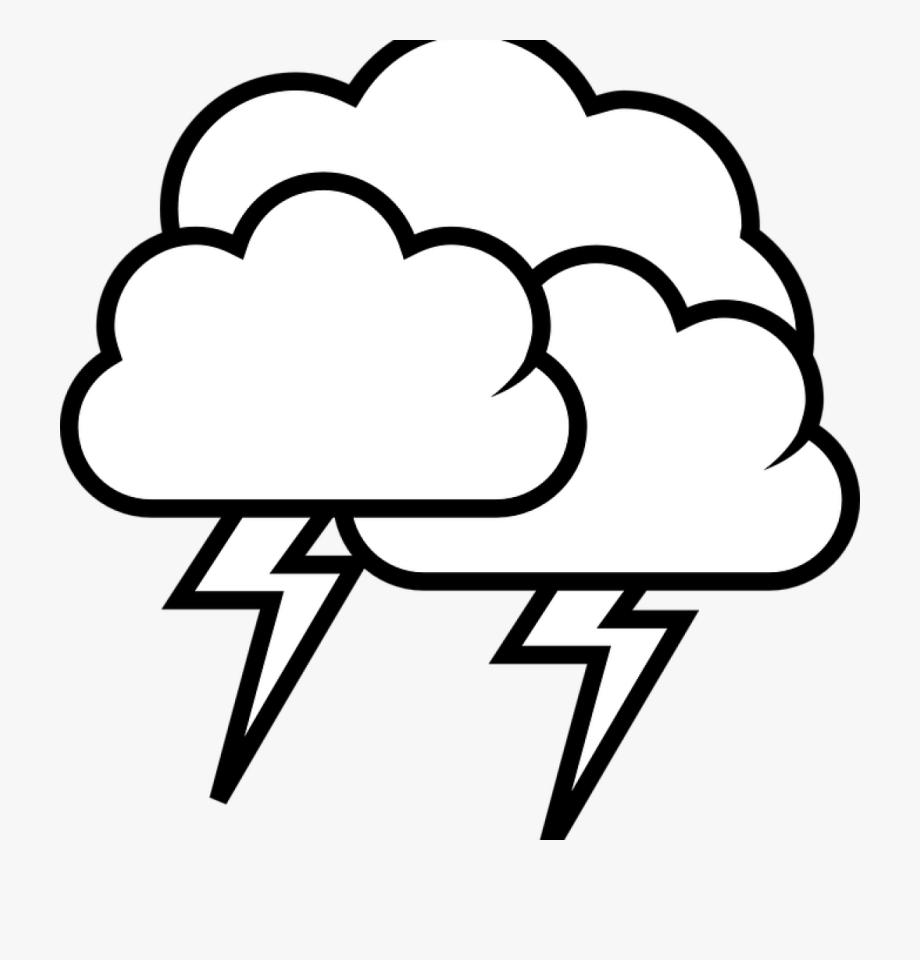 Cloud rain clip . Thunderstorm clipart black and white