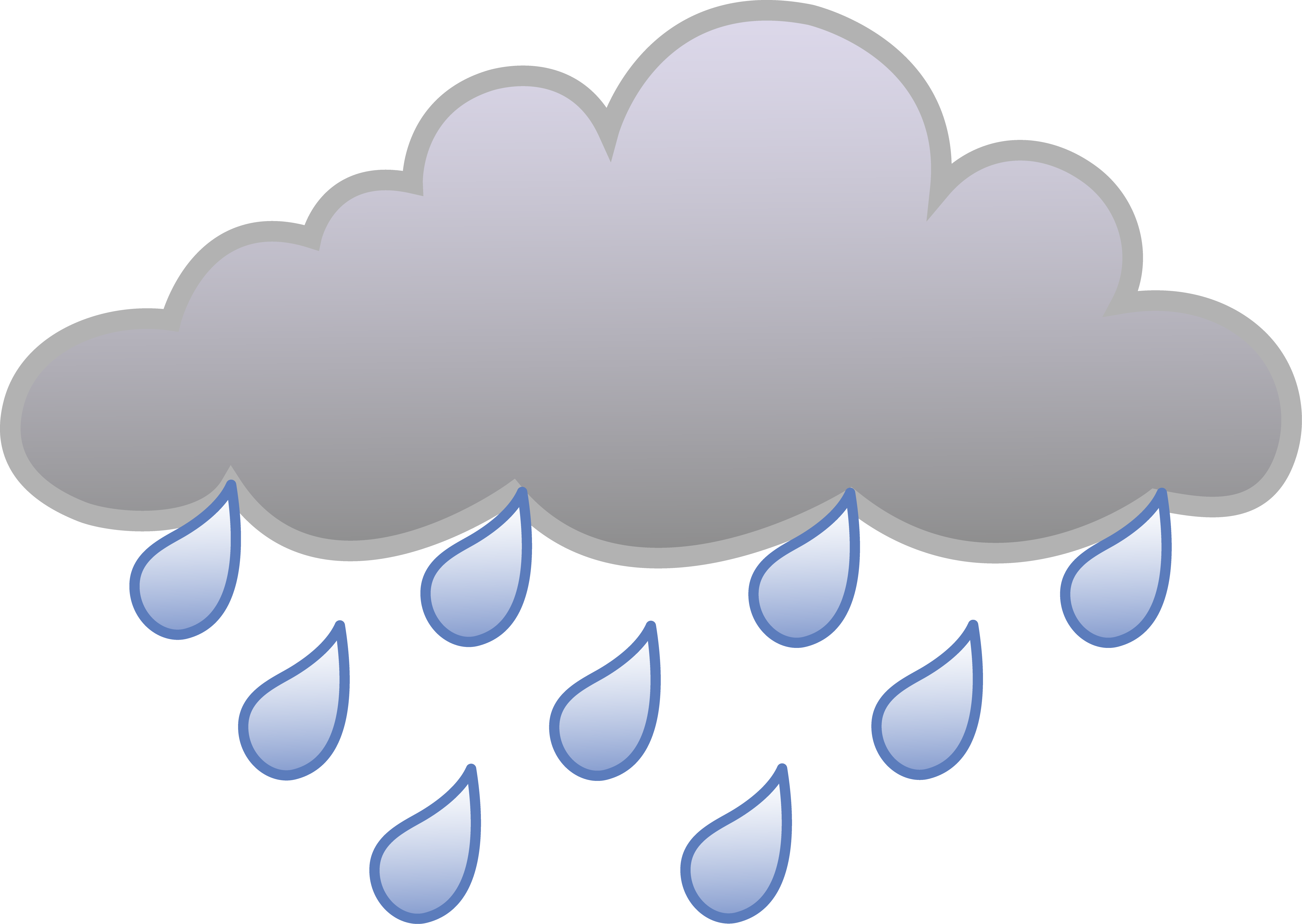 Rain and cloud collection. Wet clipart transparent