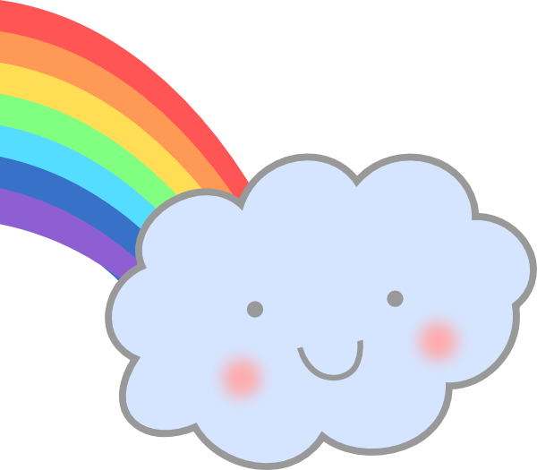 Clouds clipart line art. Cute cloud with rainbow