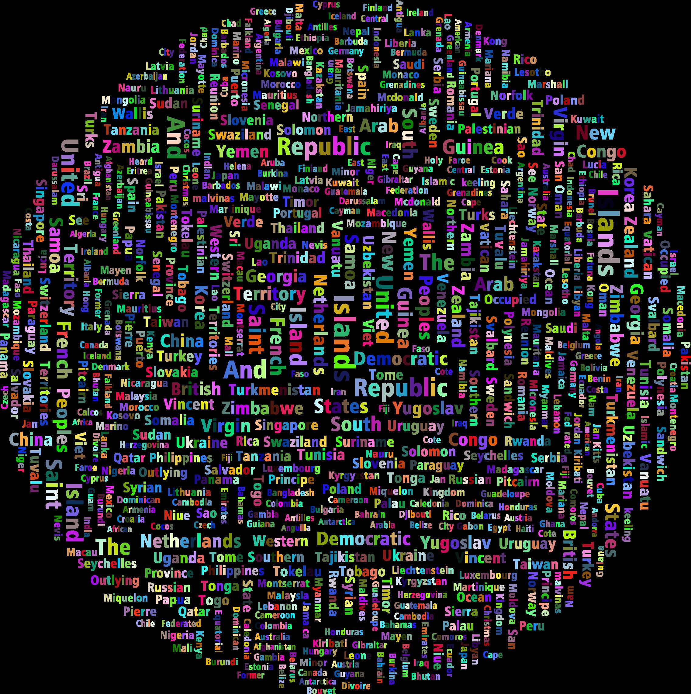 Prismatic world countries globe. Cloud clipart circle