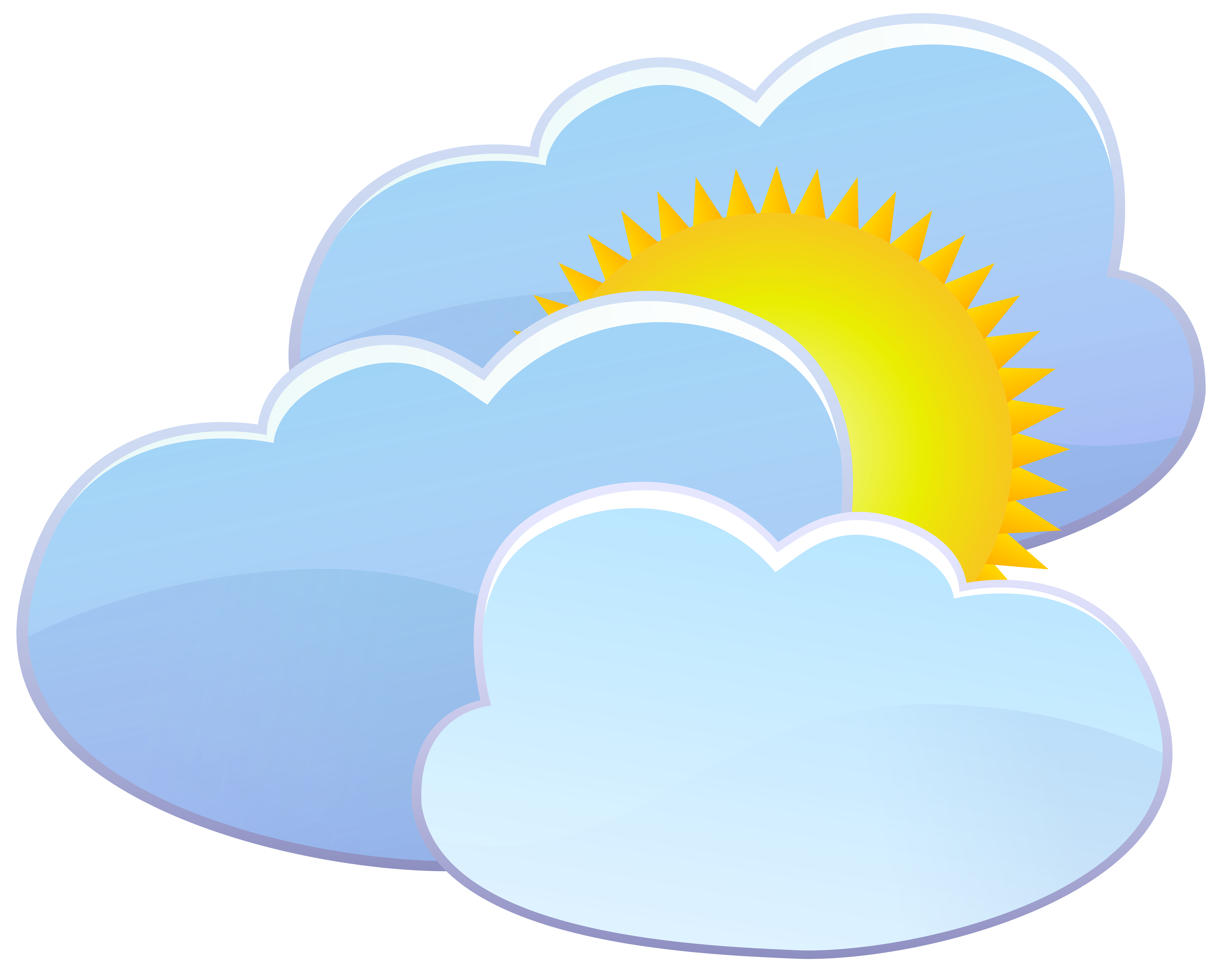 Three and sun icon. Clouds clipart weather