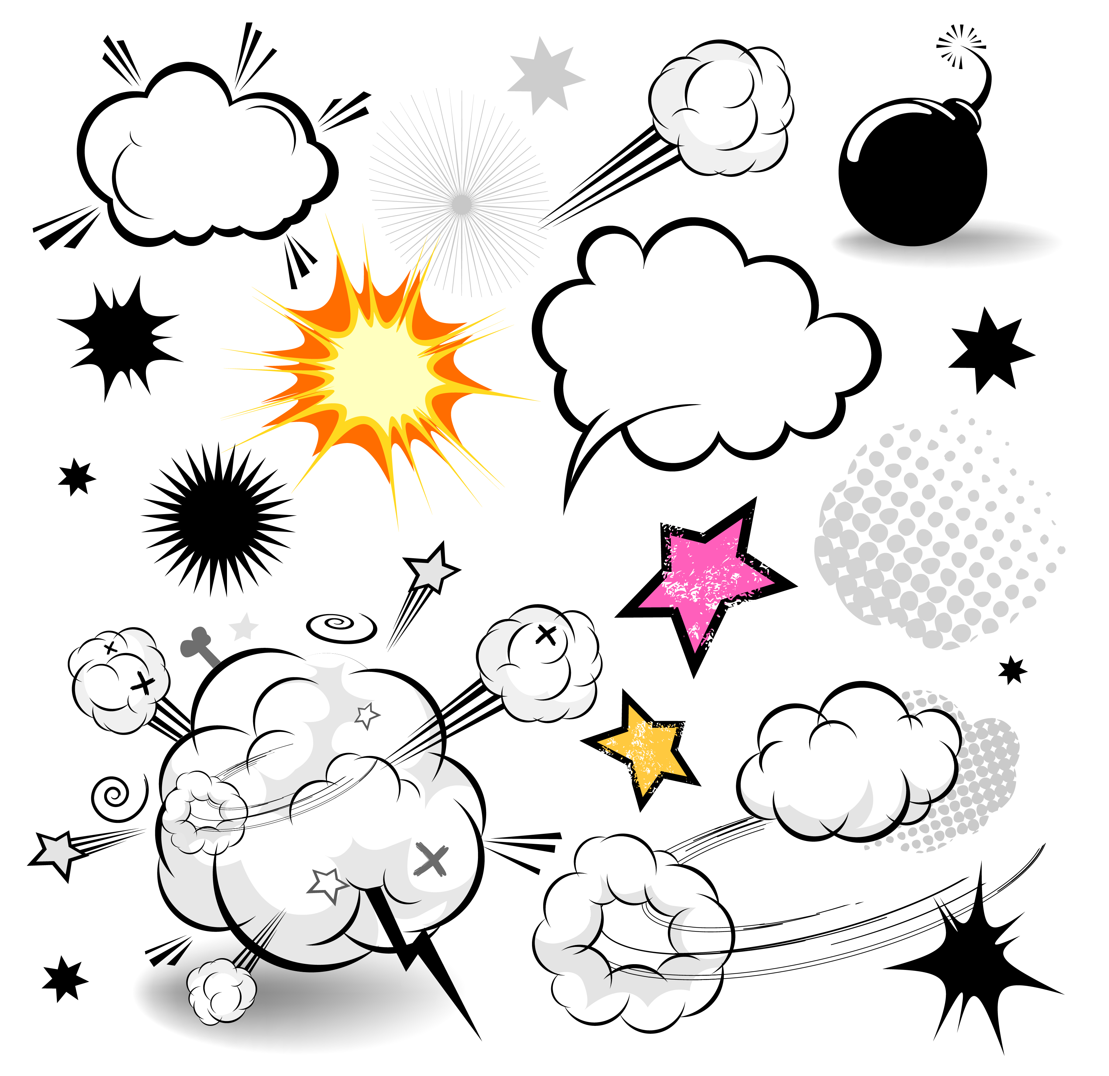 Comics speech balloon cartoon. Clipart cloud comic book