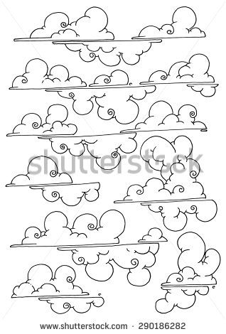 Cloud clipart curly. Clouds simple drawing pattern