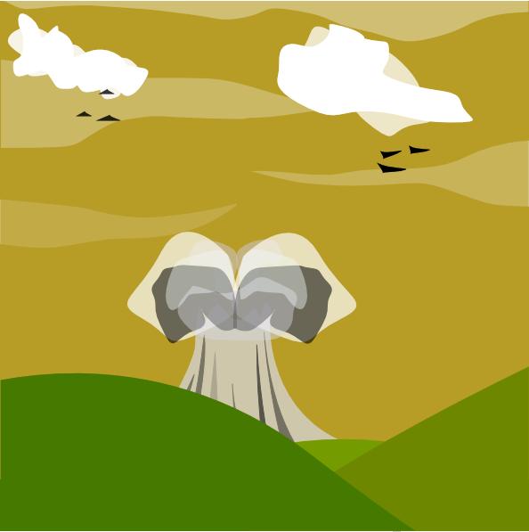 Nuclear explosion clip art. Hill clipart sky cloud