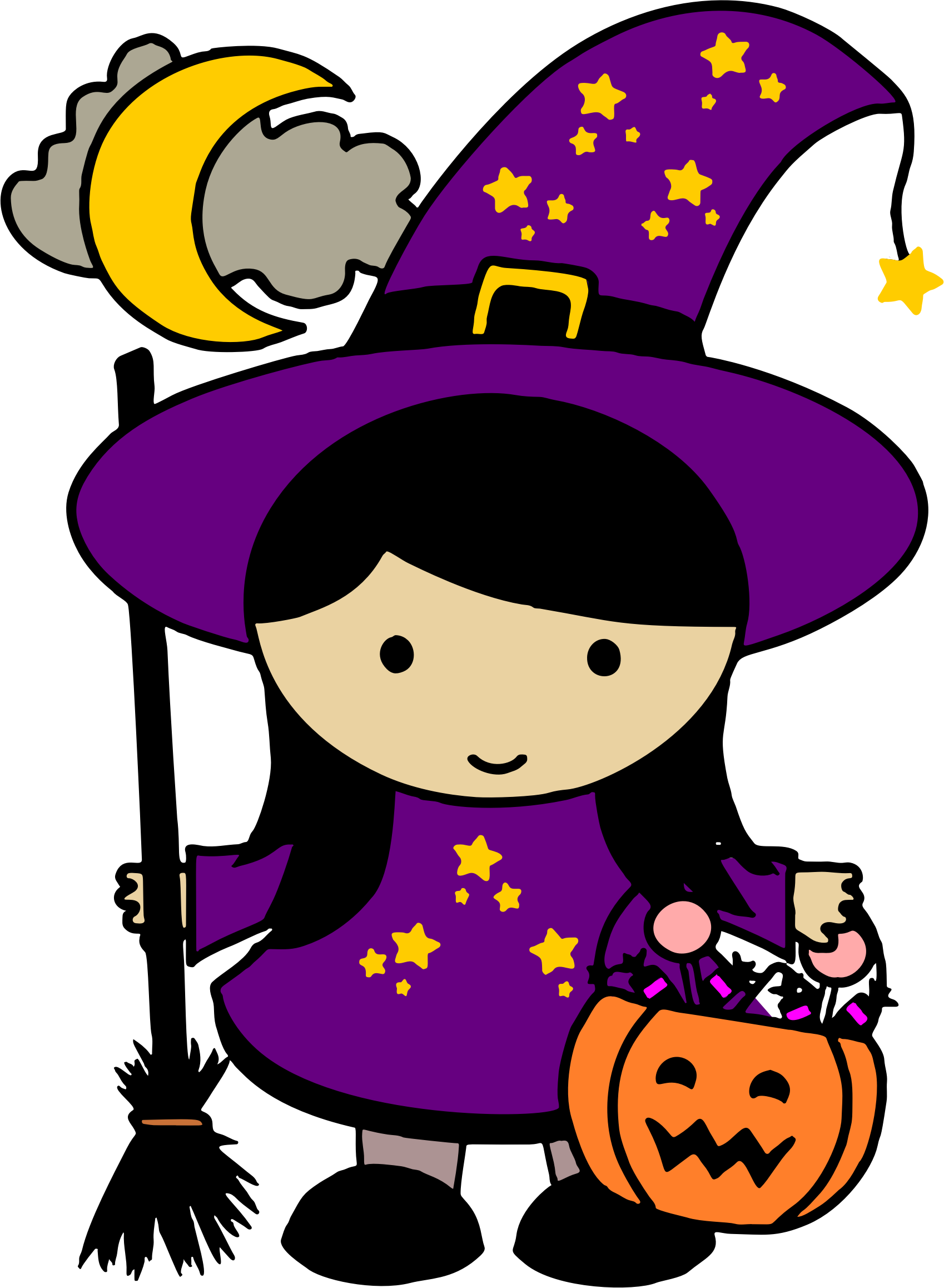 Colored big image png. Witch clipart cute halloween character