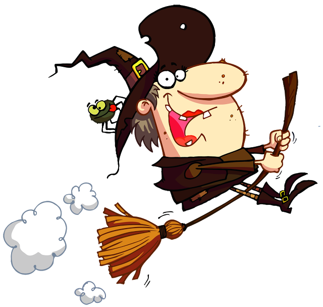 Funny halloween image cartoon. Witch clipart animated