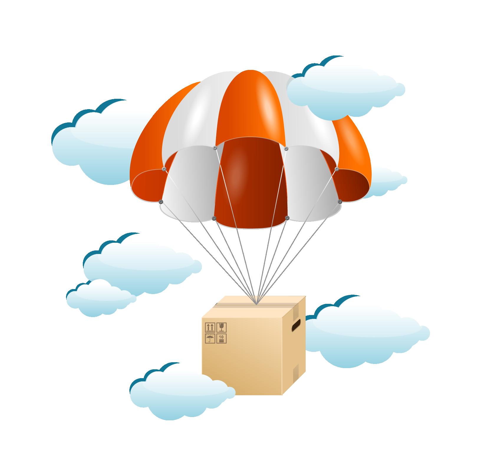 Clipart clouds balloon. Parachute cartoon clip art
