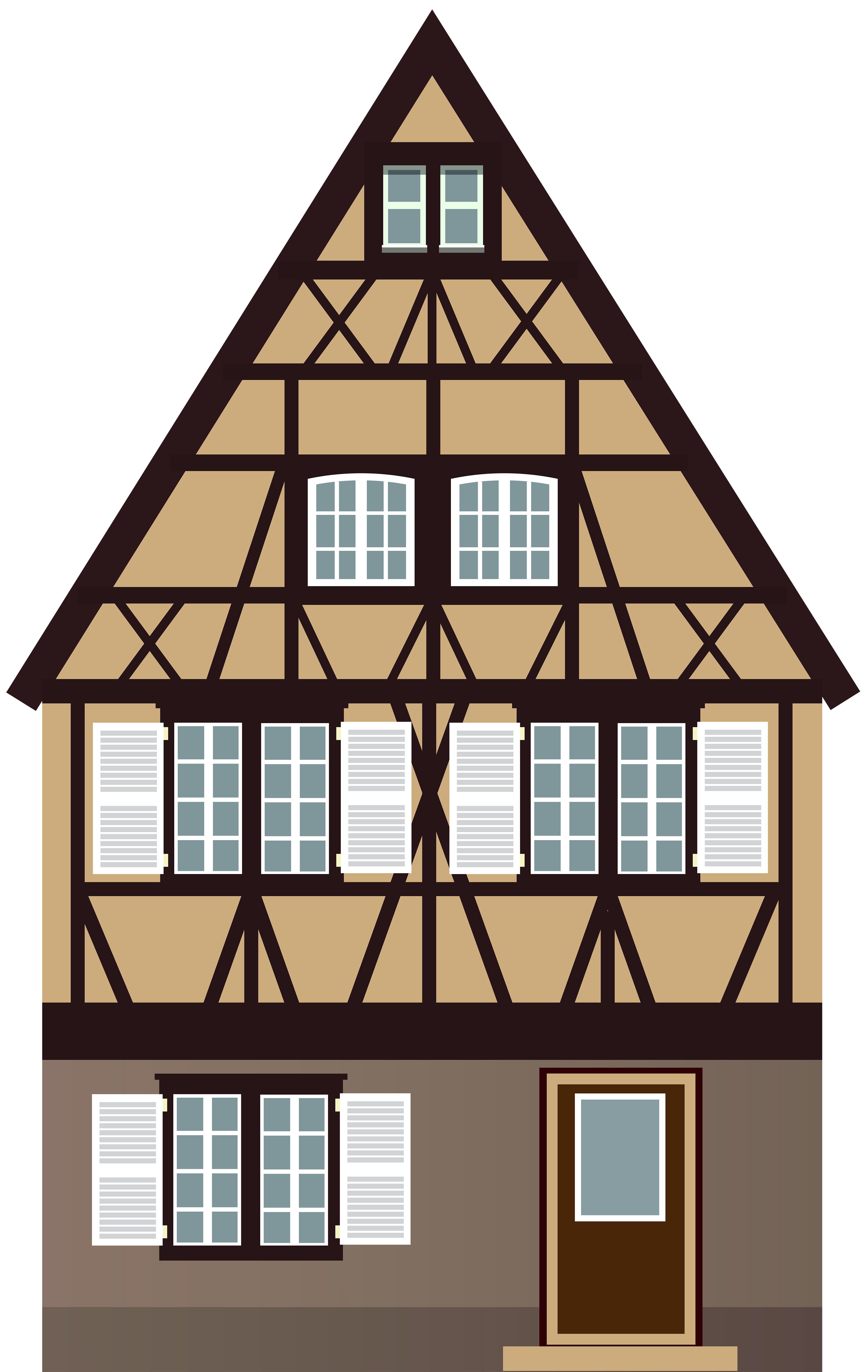 Clock clipart house. Brown png clip art