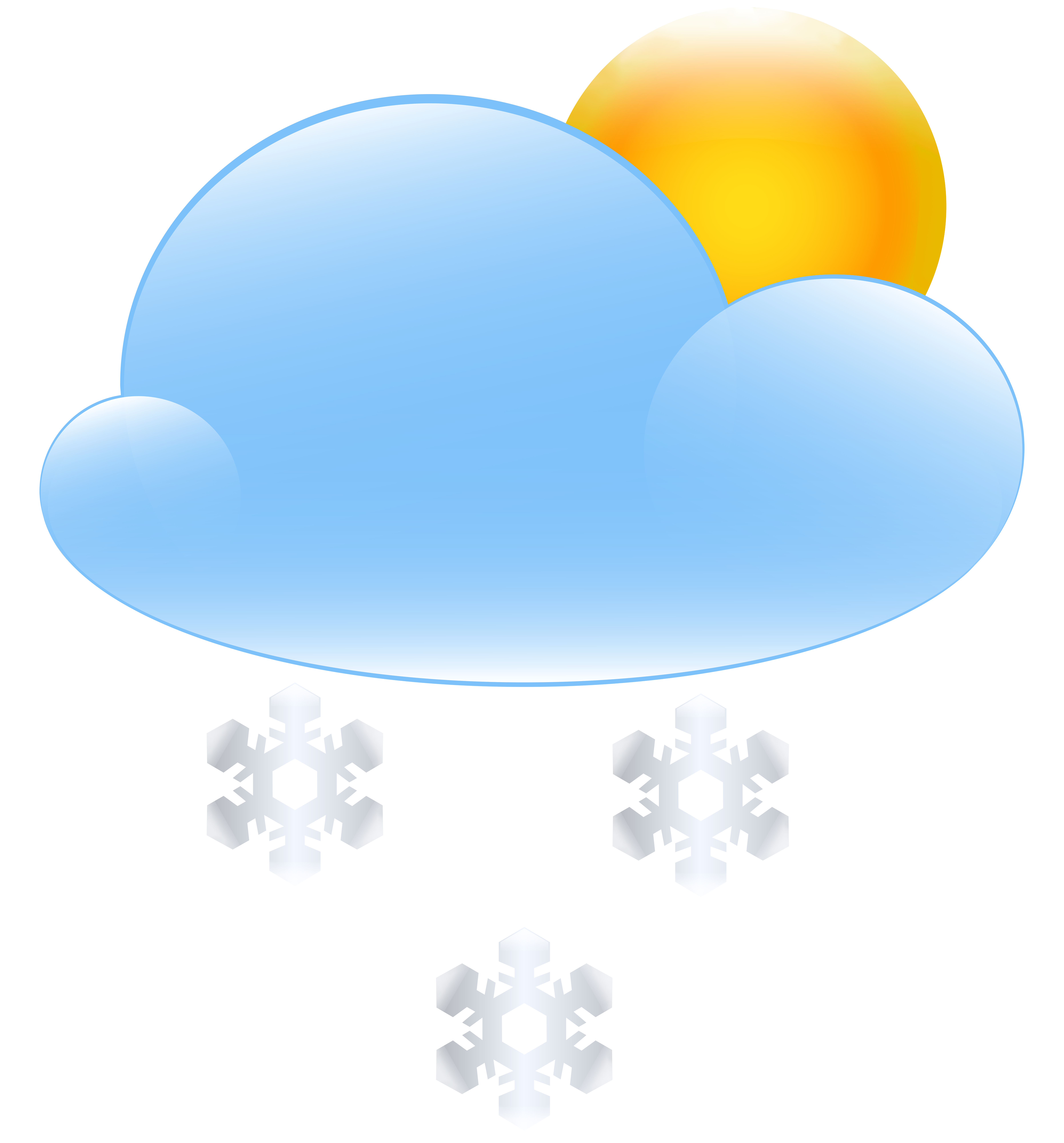 Sun and snow icon. Cloud clipart weather