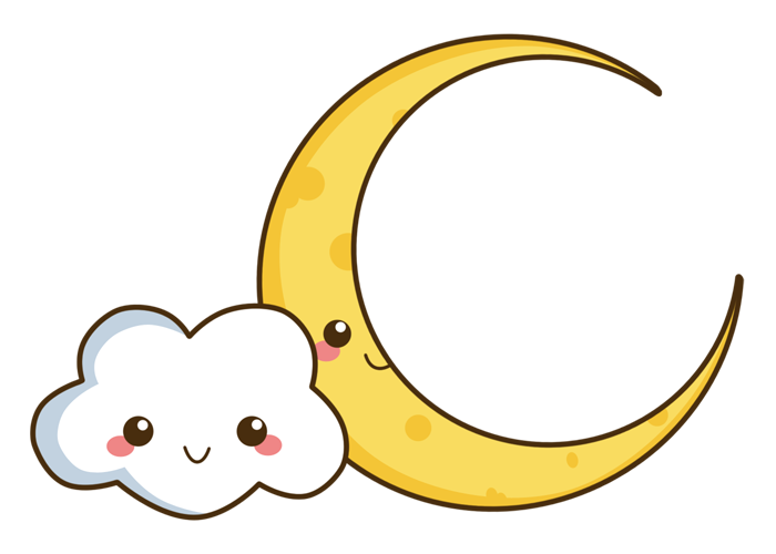 Lemons clipart kawaii. Cloud and moon by