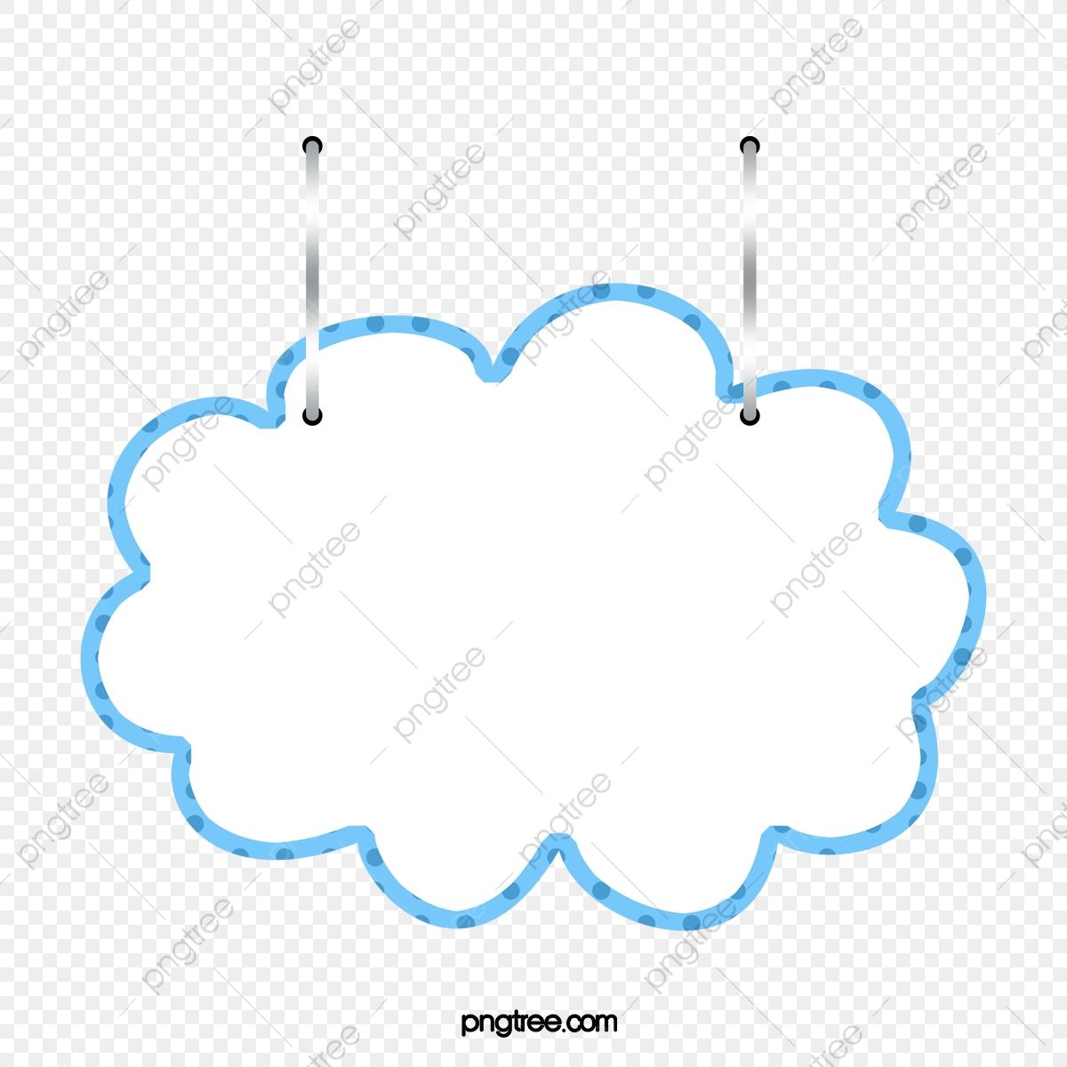 Hanging clouds suspension announcement. Label clipart cloud