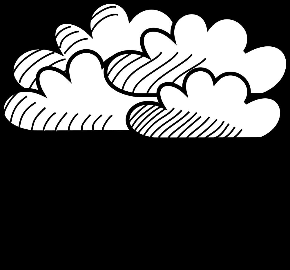 Clouds clipart line art. Onlinelabels clip rainy stick