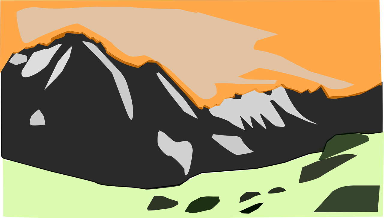 Cloud green orange rock. Clipart clouds mountain