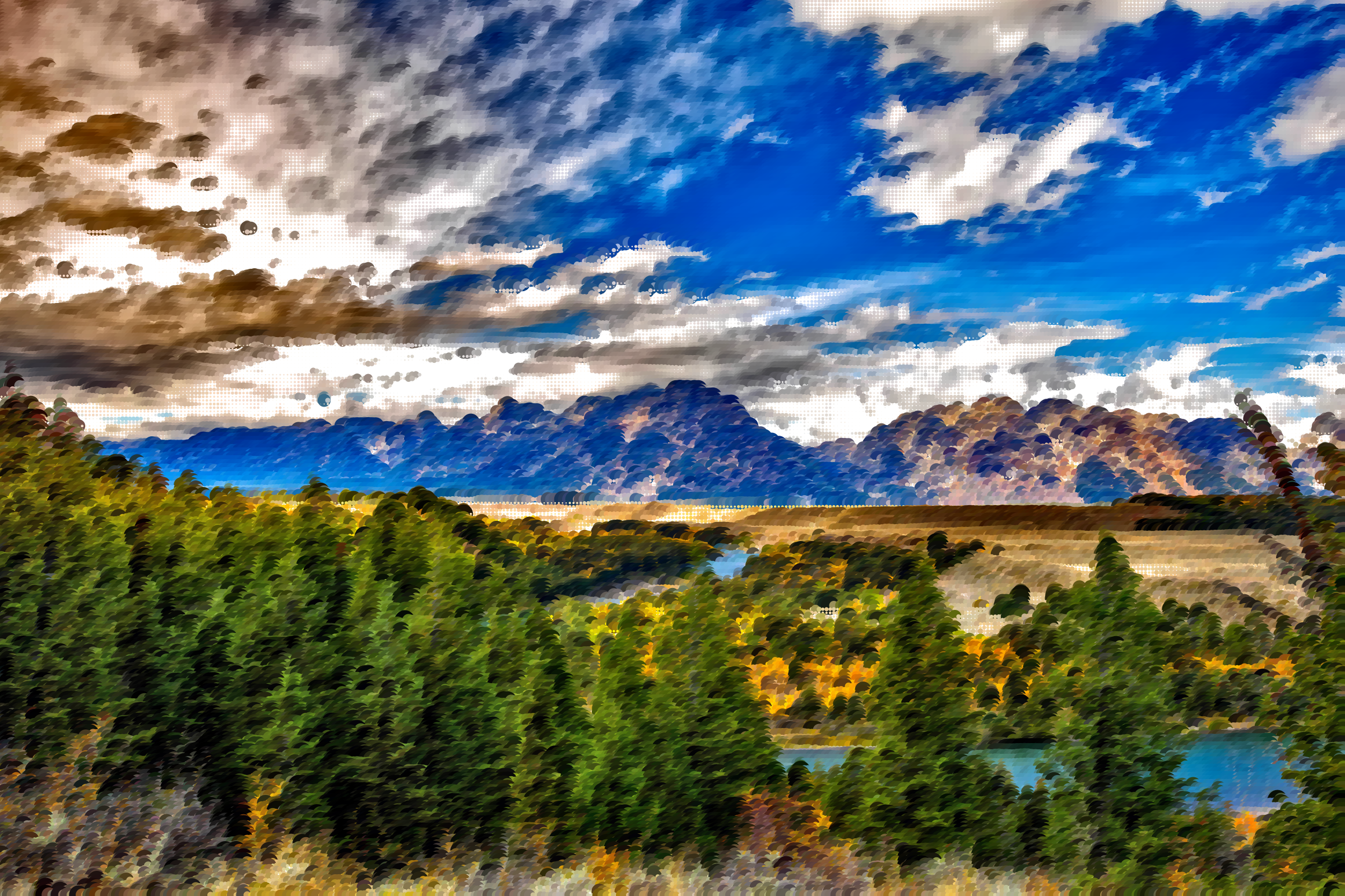 Surreal grand tetons big. Clipart clouds mountain
