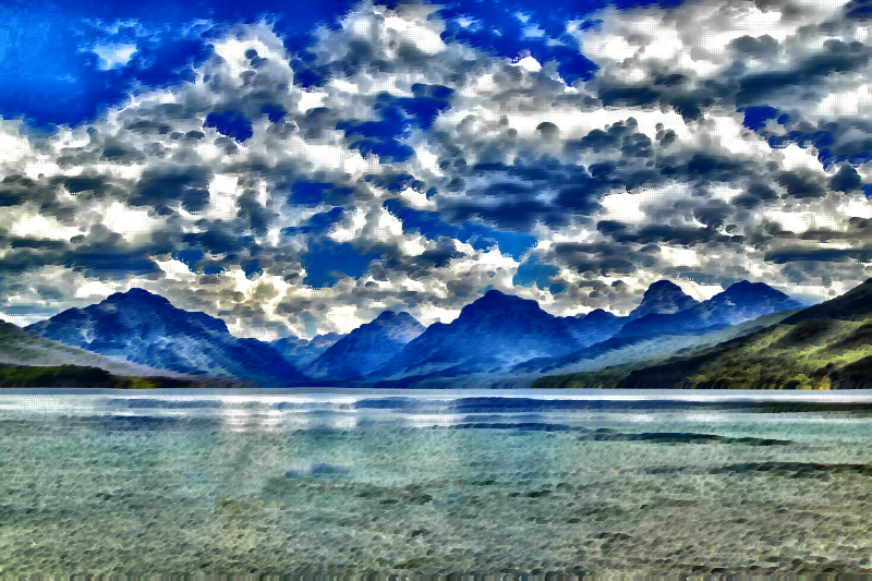 Surreal lake mcdonald montana. Clipart clouds mountain