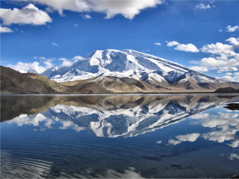 Chinese lake reflection medium. Clipart clouds mountain