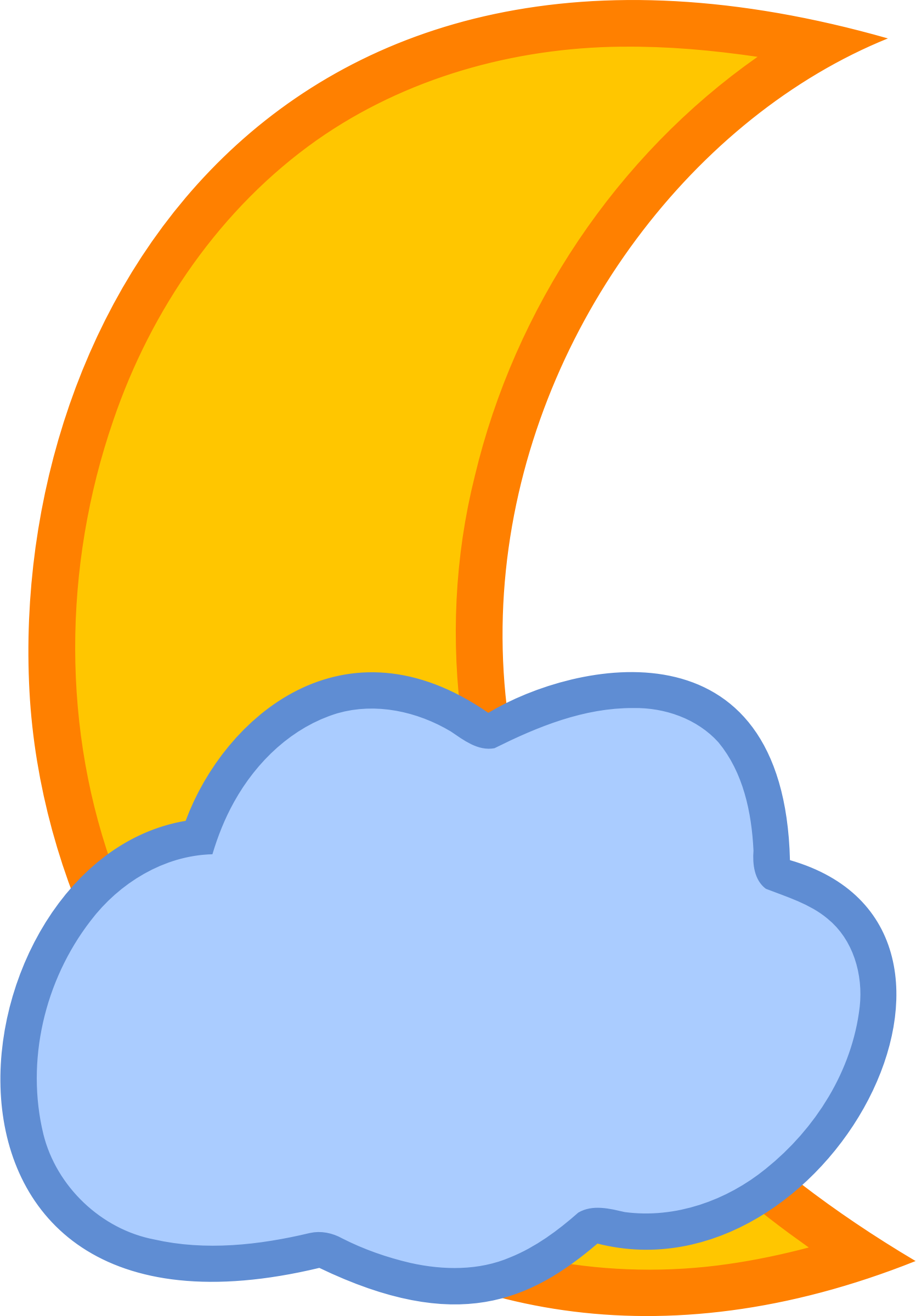 Cloud covered moon big. Orange clipart clouds