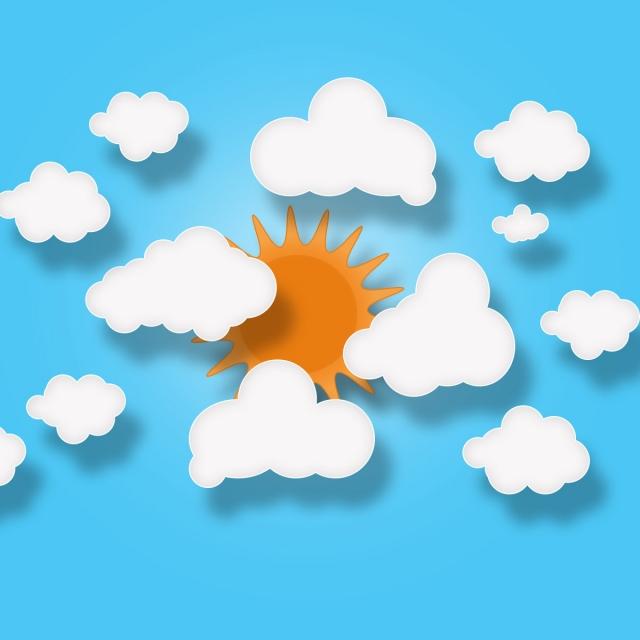 Sun clouds paper cut. Cloud clipart summer