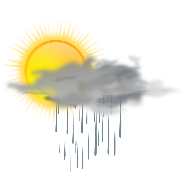 Sunny clipart rainy weather. Sun and rain cloud