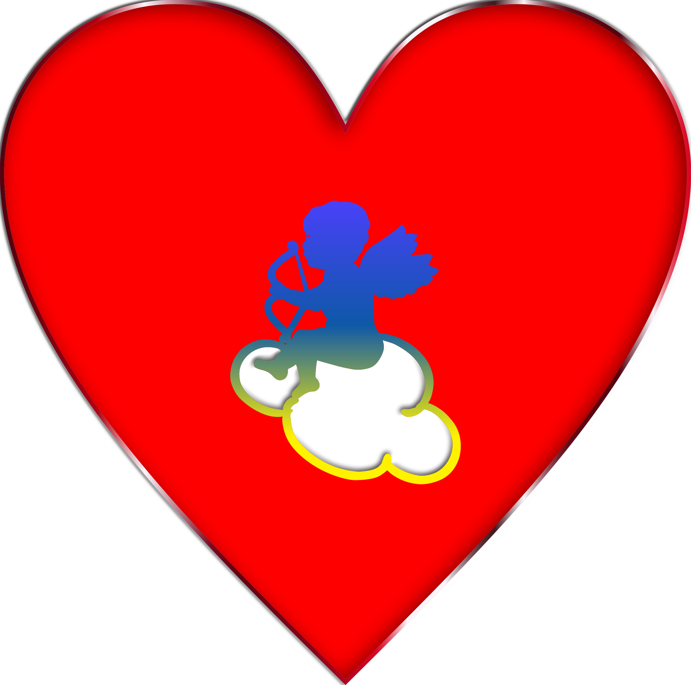 Cloud clipart heart. Cupid enhanced big image