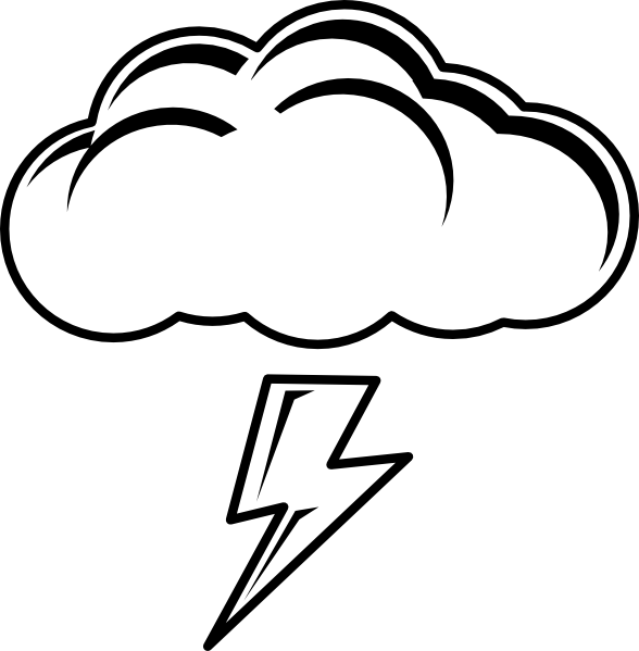 collection of cloud. Lightning clipart coloring page