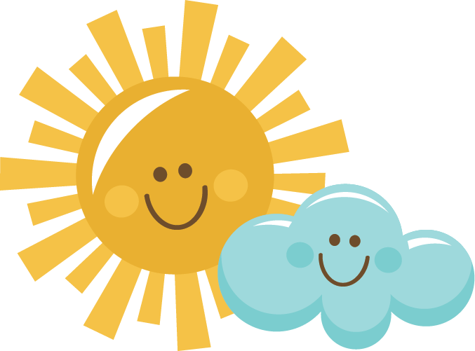 Excited clipart keen. Happy sun and cloud