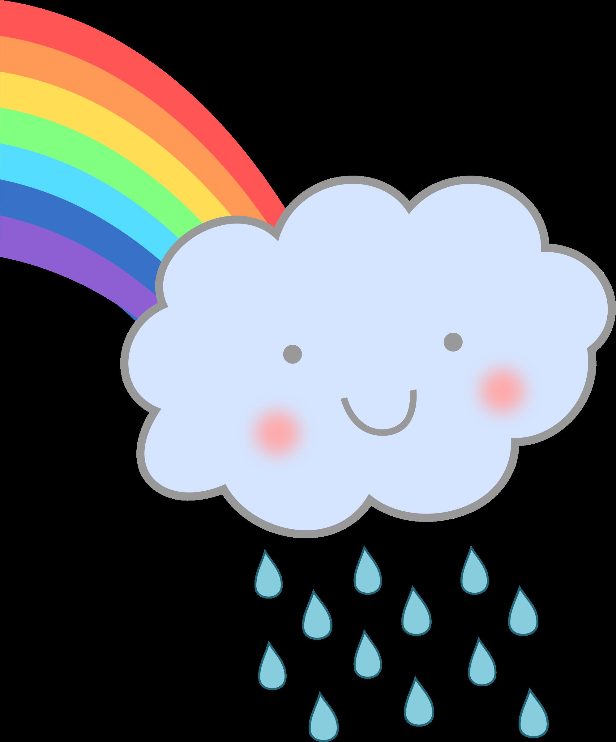 Cute cloud with icons. Clipart rainbow rain