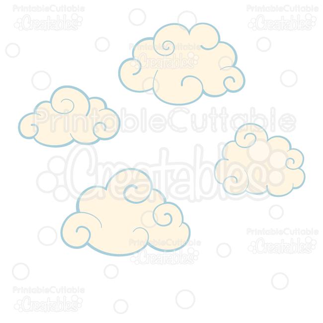 Swirly svg cut files. Clouds clipart swirl