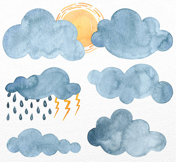 Clouds clipart illustration. Watercolor