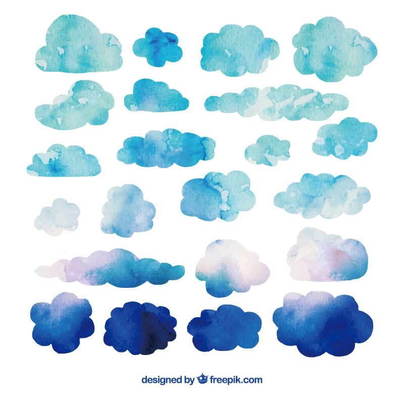 Watercolor painting cloud clip. Clouds clipart candy