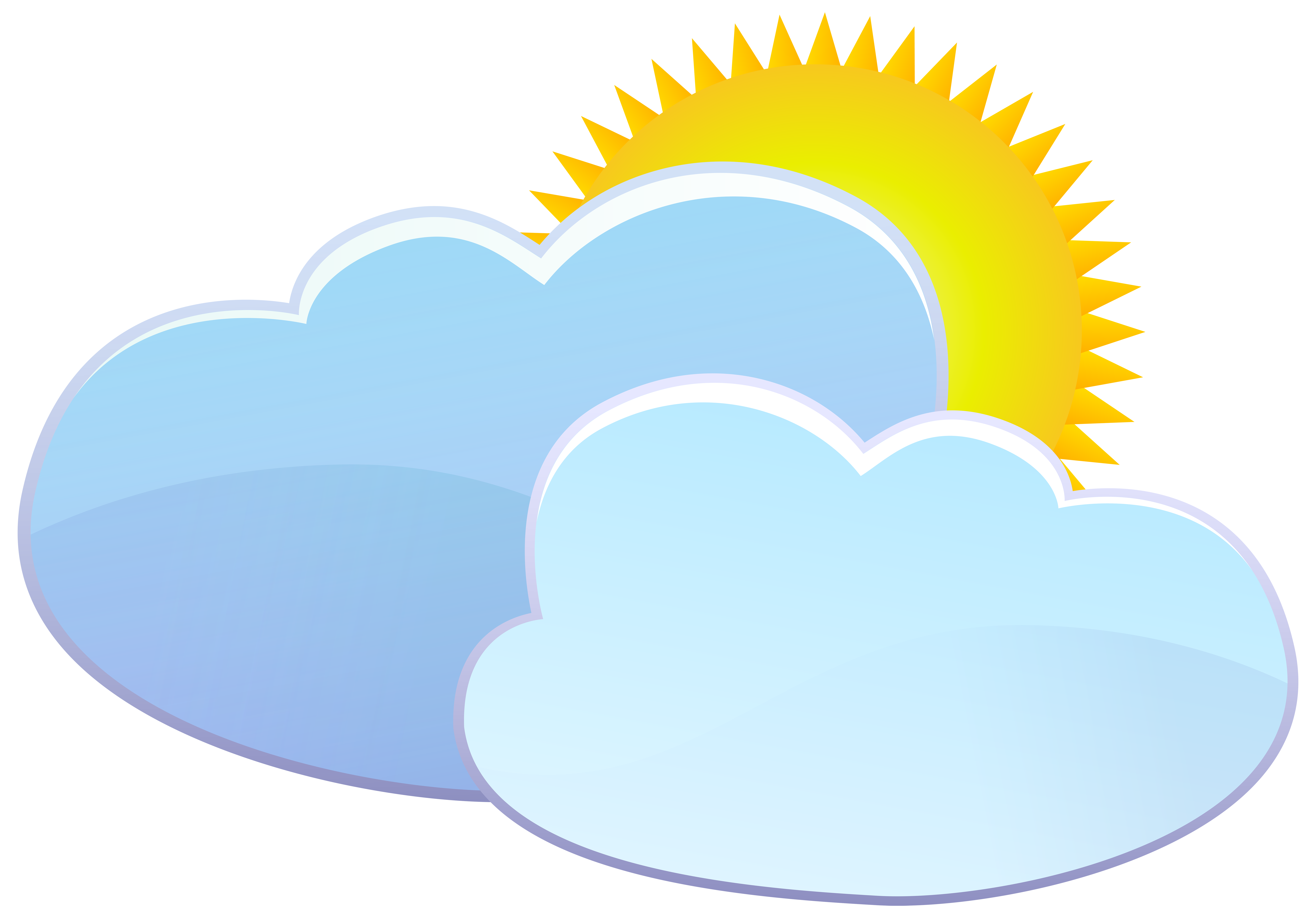 And sun weather icon. Orange clipart clouds