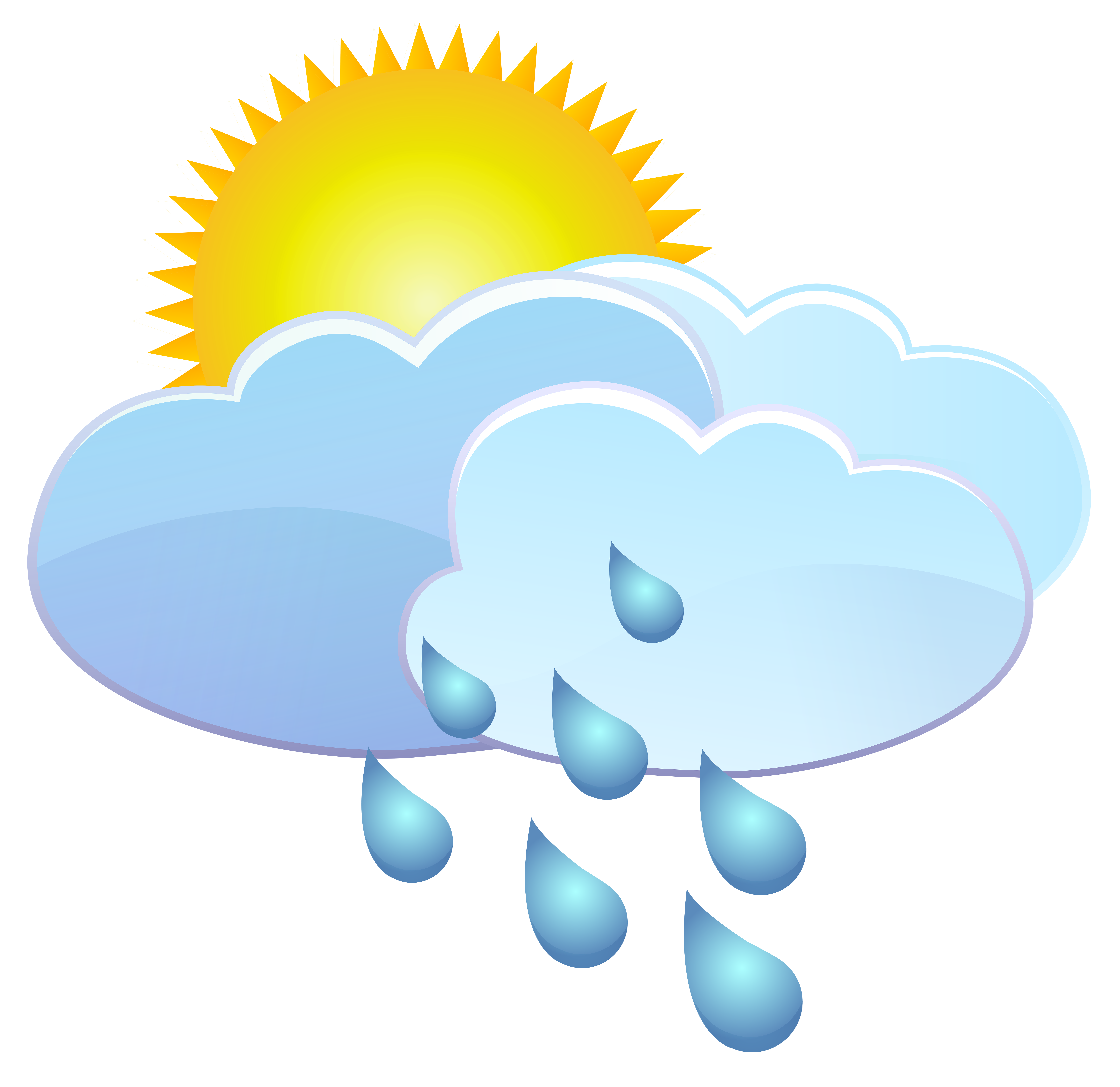 Sun and rain drops. Clouds clipart weather