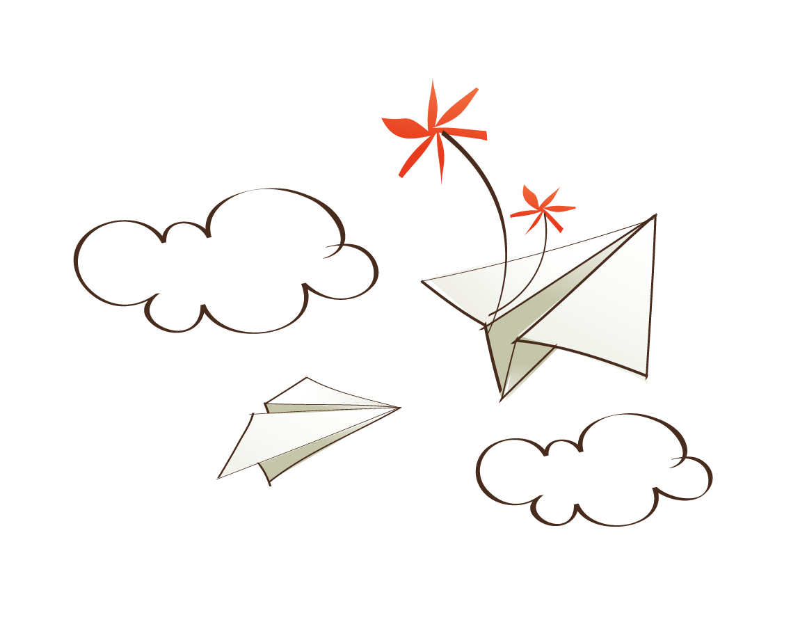 Paper clip art vector. Clouds clipart airplane
