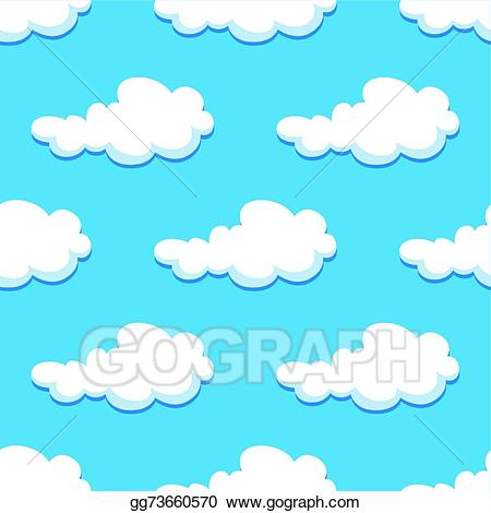 Cloud clipart curly. Vector illustration seamless background
