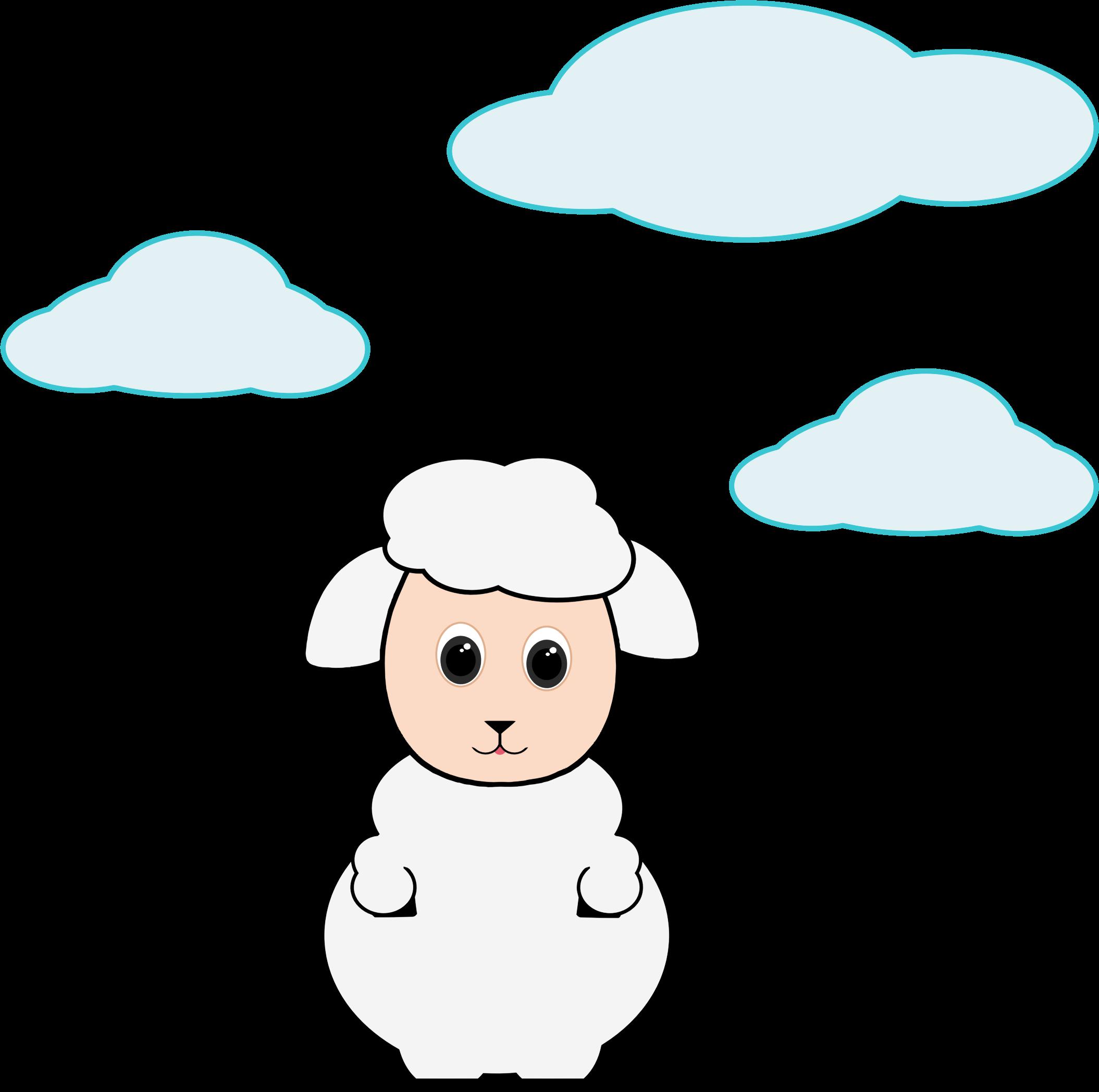 Lamb in the big. Clouds clipart cute