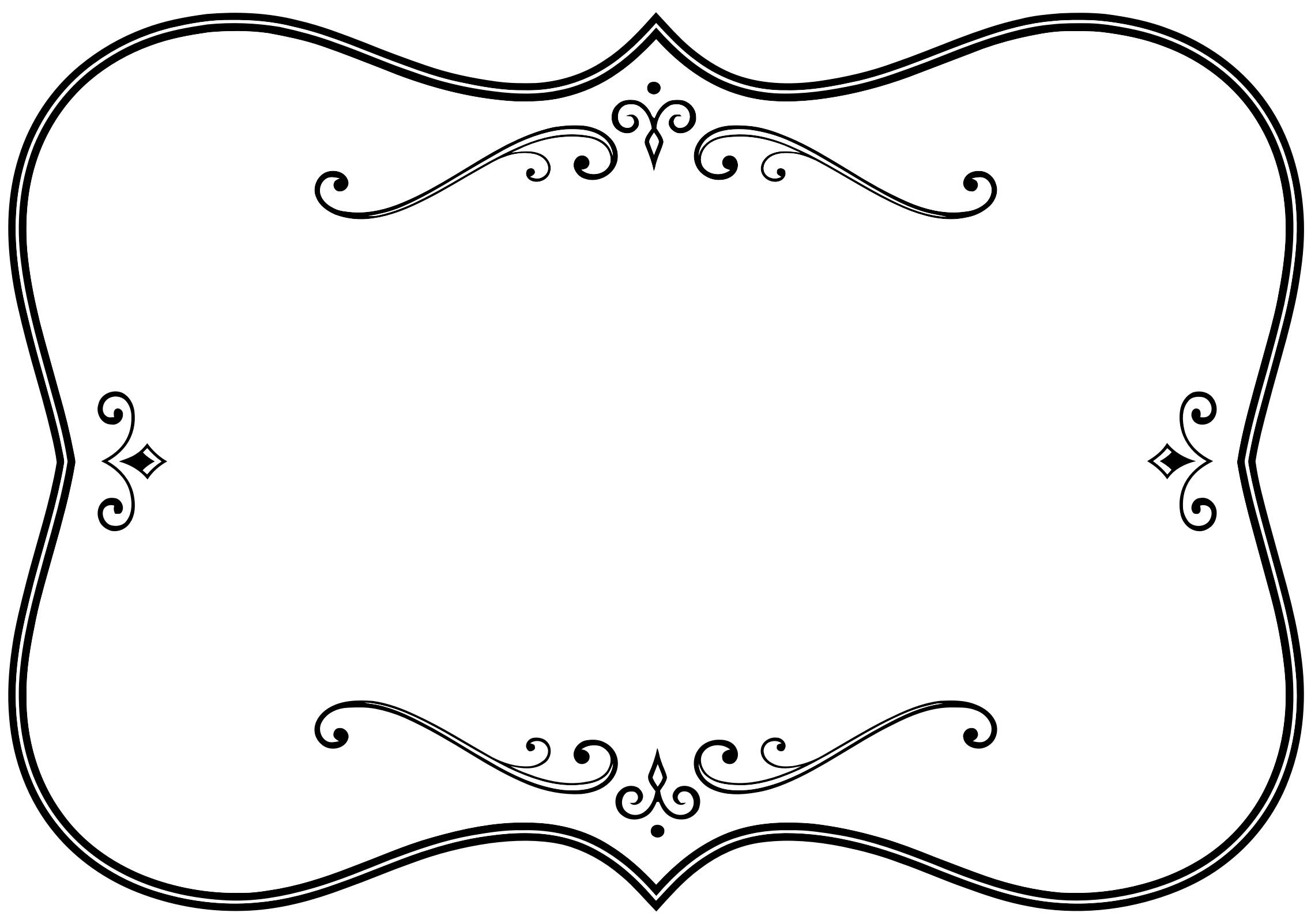Fancy black border png. Decorative and white flourish
