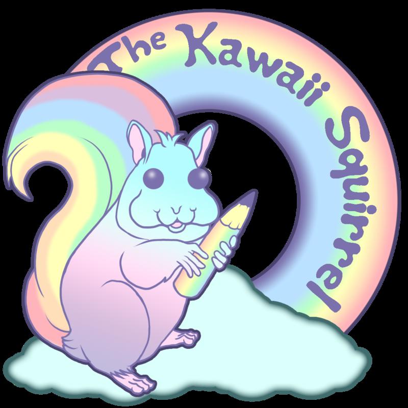 Clouds rainbows the squirrel. Coconut clipart kawaii